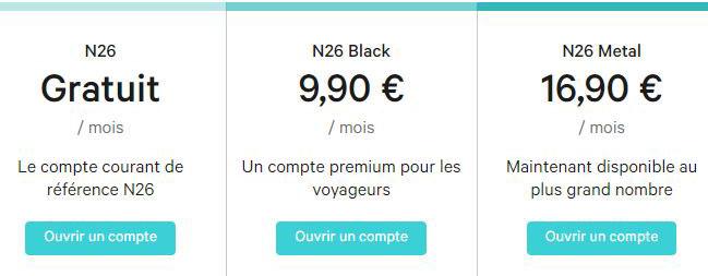 N26 Bank tarifs