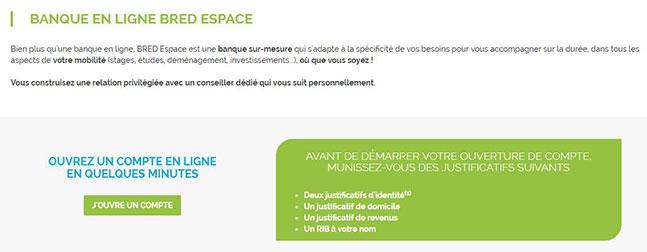 Banque en ligne bred espace