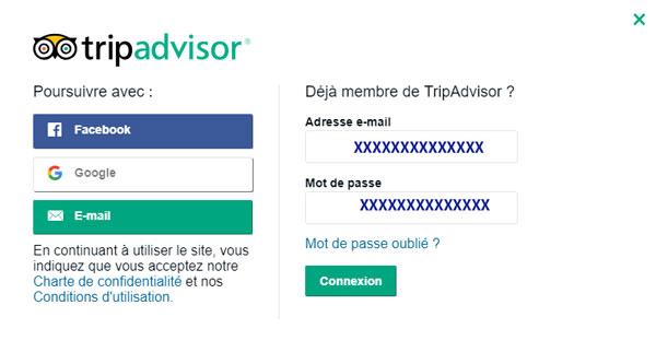 se connecter à votre compte Tripadvisor
