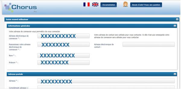 création compte utilisateur sur le portail chorus pro