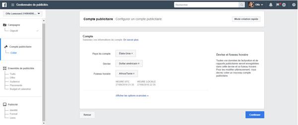 créer et configurer compte publicitaire facebook
