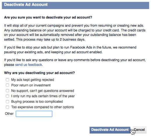 Désactiver compte publicitaire facebook