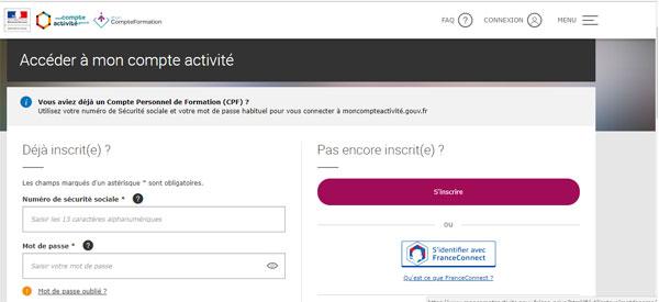 s'inscrire à moncompteformation.gouv.fr