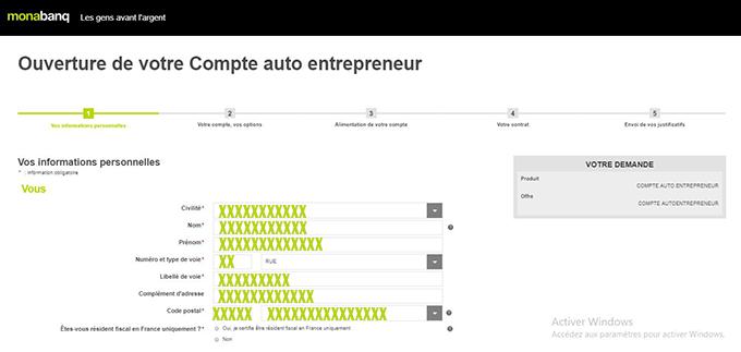 compte auto-entrepreneur monabanq en ligne