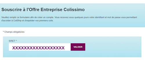 S'inscrire sur Colissimo Entreprise.fr
