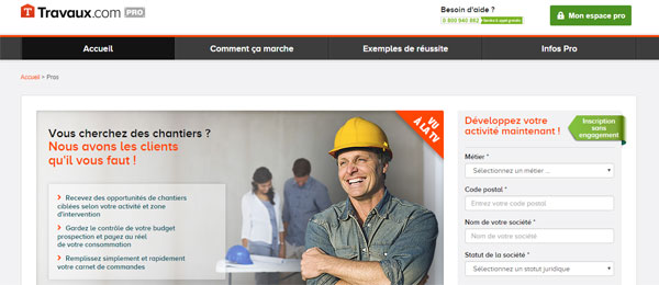 travaux.com inscription