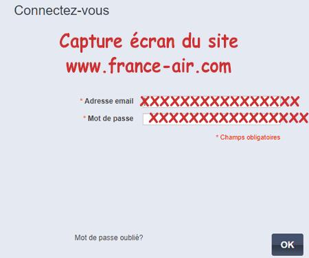 connexion à France Air espace pro