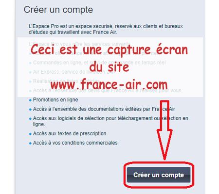 Création de l'espace professionnel sur www.france-air.com.