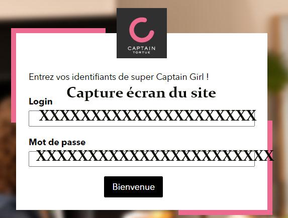 Captain Tortue connexion